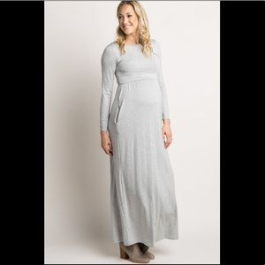 Grey Solid Crisscross Back Maternity Maxi Dress